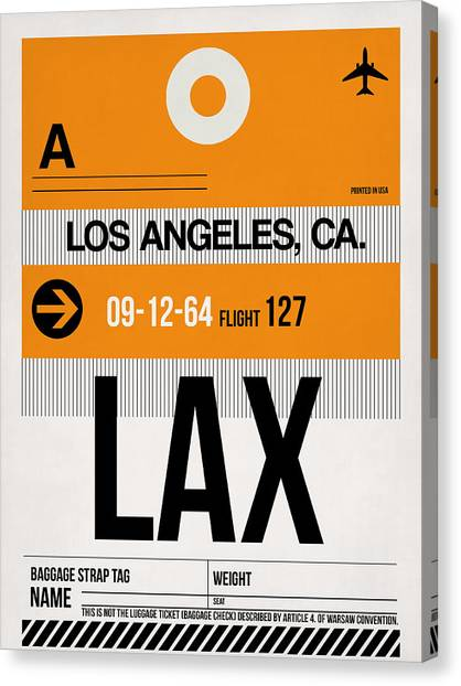 Airports Canvas Print - Los Angeles Luggage Poster 2 by Naxart Studio