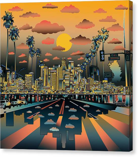 Los Angeles Skyline Canvas Print - Los Angeles Skyline Abstract 2 by Bekim Art