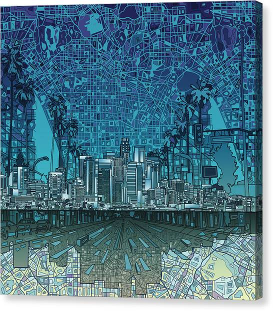 Los Angeles Skyline Canvas Print - Los Angeles Skyline Abstract 5 by Bekim Art