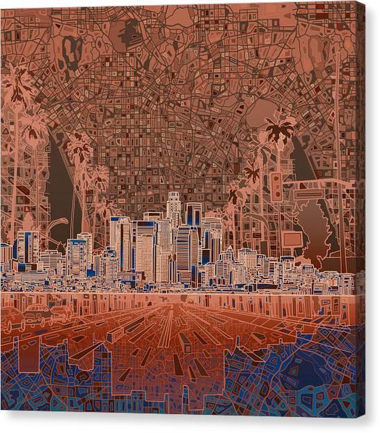 Los Angeles Skyline Canvas Print - Los Angeles Skyline Abstract 7 by Bekim Art