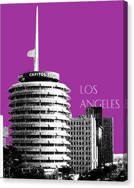 Los Angeles Skyline Canvas Print - Los Angeles Skyline Capitol Records - Plum by DB Artist
