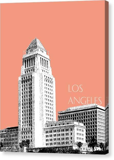 Los Angeles Skyline Canvas Print - Los Angeles Skyline City Hall - Salmon by DB Artist