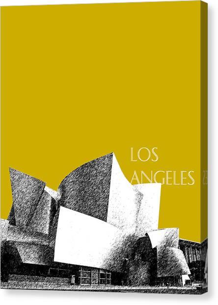 Los Angeles Skyline Canvas Print - Los Angeles Skyline Disney Theater - Gold by DB Artist