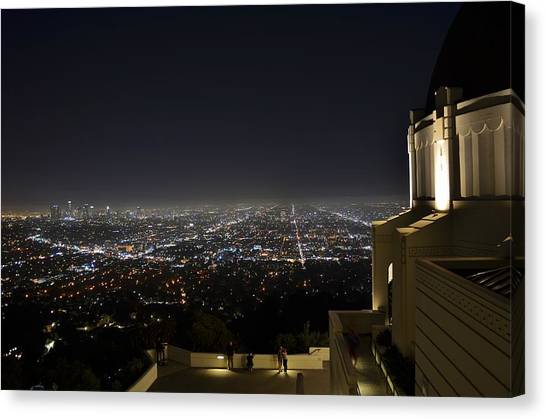 Los Angeles Skyline From Griffith Observatory Canvas Print by David Lobos