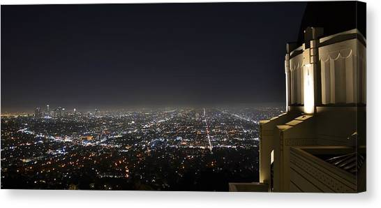 Los Angeles Skyline Panorama From The Griffith Observatory Canvas Print by David Lobos