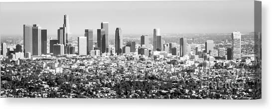 Los Angeles Skyline Canvas Print - Los Angeles Skyline Panorama Photo by Paul Velgos