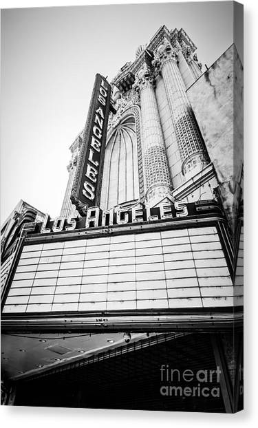 Los Angeles Theatre Sign In Black And White Canvas Print by Paul Velgos