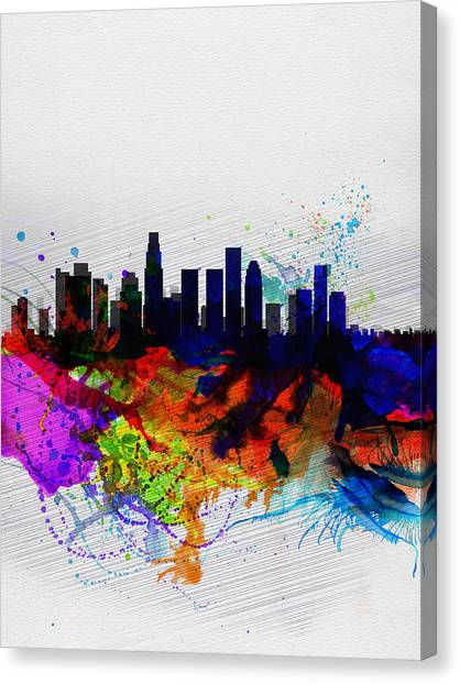 Los Angeles Skyline Canvas Print - Los Angeles  Watercolor Skyline 2 by Naxart Studio