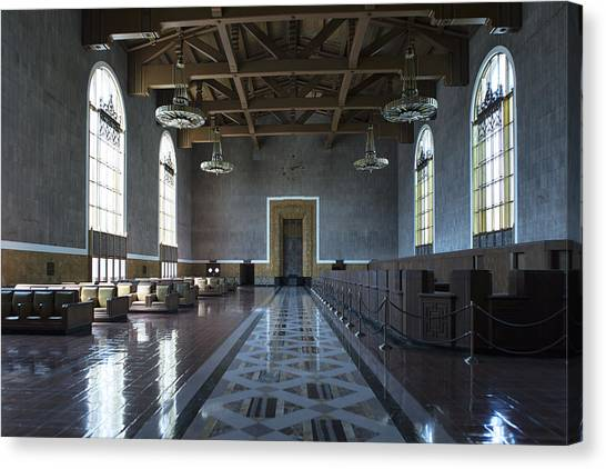 Canvas Print featuring the photograph Los Angeles Union Station - Custom by Belinda Greb