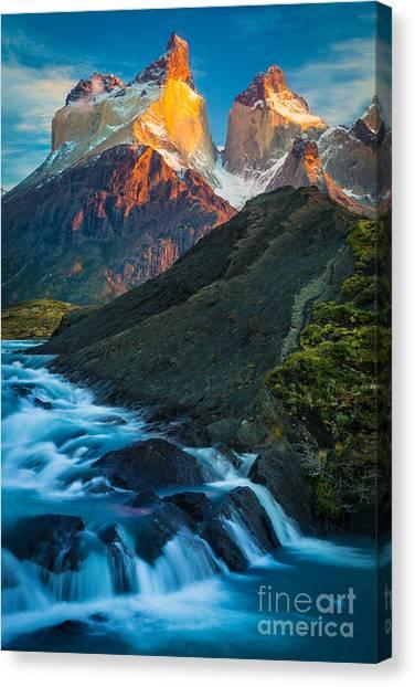 Chilean Canvas Print - Los Cuernos Falls by Inge Johnsson
