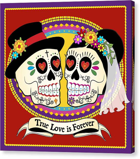 Bride Canvas Print - Los Novios Sugar Skulls by Tammy Wetzel