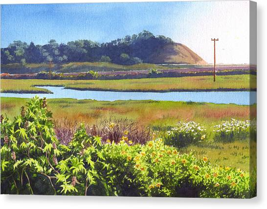 Marshes Canvas Print - Los Penasquitos Creek Torrey Pines by Mary Helmreich