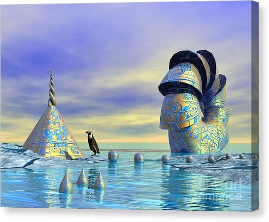 Canvas Print featuring the digital art Lost And Found - Surrealism by Sipo Liimatainen