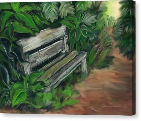 Lost Bench Canvas Print by Jean Pacheco Ravinski
