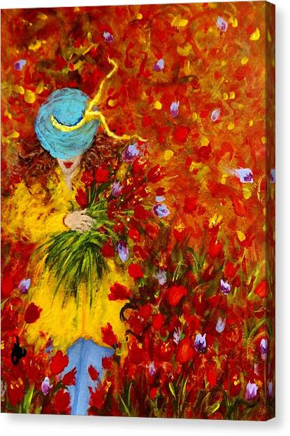 Lost In A Field Of Tulips.. Canvas Print