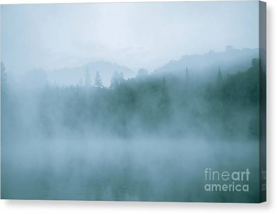 Lost In Fog Over Lake Canvas Print