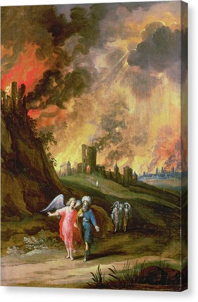 Old Testament Canvas Print - Lot And His Daughters Leaving Sodom by Louis de Caullery