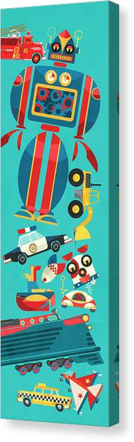 Toy Airplanes Canvas Print - Lots Of Retro Mechanical Toys by Ikon Ikon Images