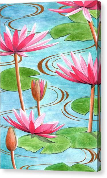 Pattern Canvas Print - Lotus Flower by Jenny Barnard