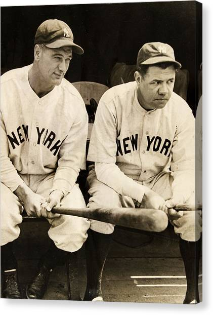 Babe Ruth Canvas Print - Lou Gehrig And Babe Ruth by Bill Cannon