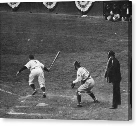 Lou Gehrig Canvas Print - Lou Gehrig Gets A Hit by Underwood Archives