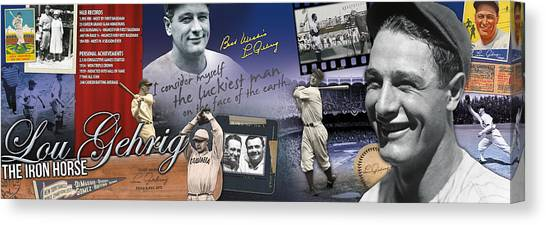 Columbia University Canvas Print - Lou Gehrig Panoramic by Retro Images Archive