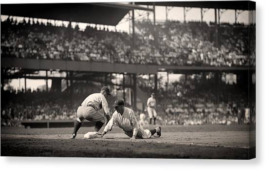 Lou Gehrig Canvas Print - Lou Gehrig Playing First Base by Mountain Dreams