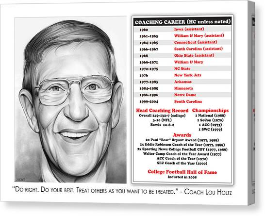 Careers Canvas Print - Lou Holtz by Greg Joens