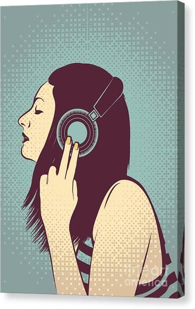 Headphones Canvas Print - Loud Silence by Freshinkstain