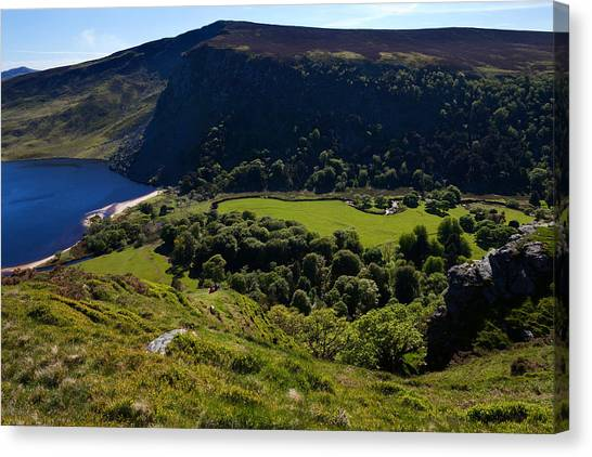 Moorland Canvas Print - Lough Tay Below Luggala Mountain by Panoramic Images