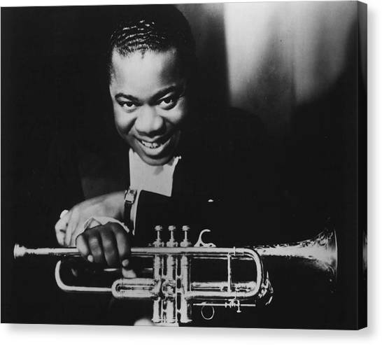 Mardi Gras Canvas Print - Louis Armstrong Holding Trumpet by Retro Images Archive