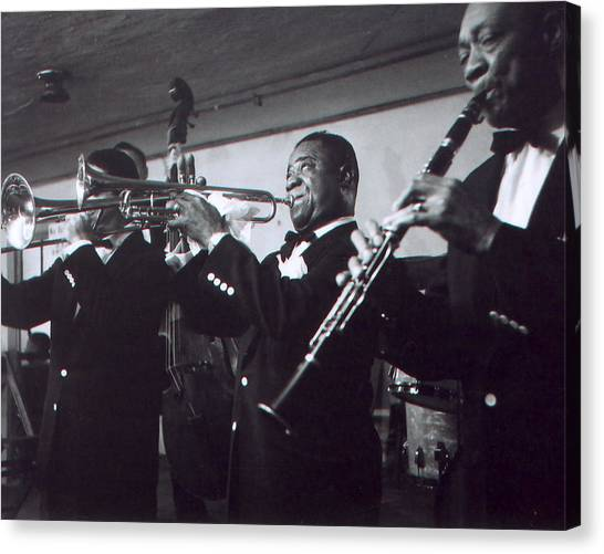 Mardi Gras Canvas Print - Louis Armstrong Playing With The Band by Retro Images Archive