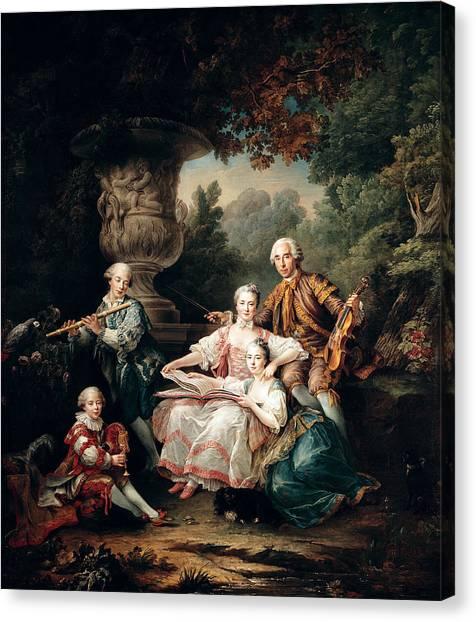 Bagpipes Canvas Print - Louis Du Bouchet 1645-1716 Marquis De Sourches And His Family, 1750 Oil On Canvas by Francois-Hubert Drouais