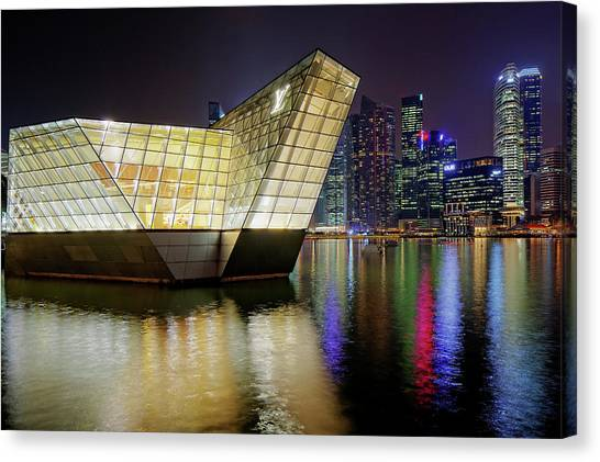 Singapore Skyline Canvas Print - Louis Vuitton Pavillon And Skyline by Martin Fleckenstein