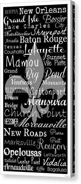 Natchitoches Canvas Print - Louisiana Cities And Towns Typography by Southern Tradition