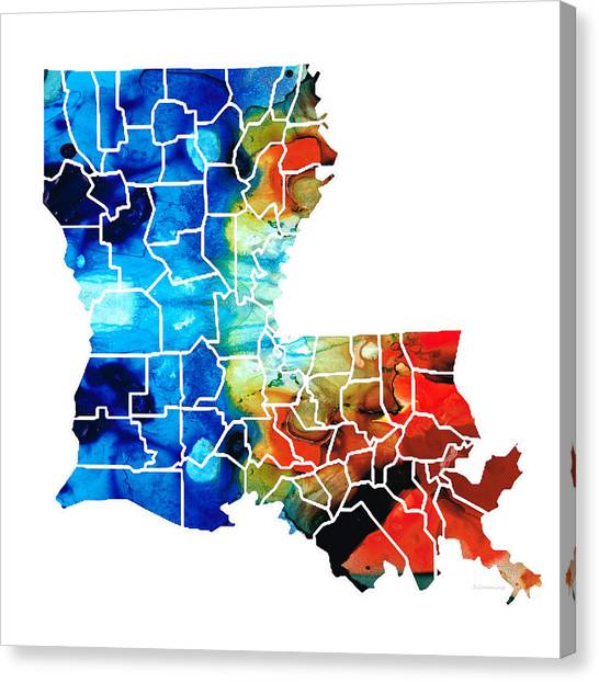 Mardi Gras Canvas Print - Louisiana Map - State Maps By Sharon Cummings by Sharon Cummings