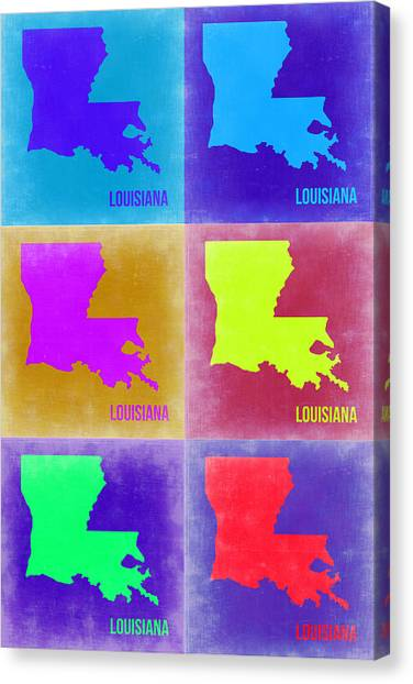 Louisiana Canvas Print - Louisiana Pop Art Map 2 by Naxart Studio