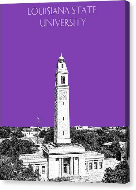 Louisiana State University Lsu Canvas Print - Louisiana State University - Memorial Tower - Purple by DB Artist