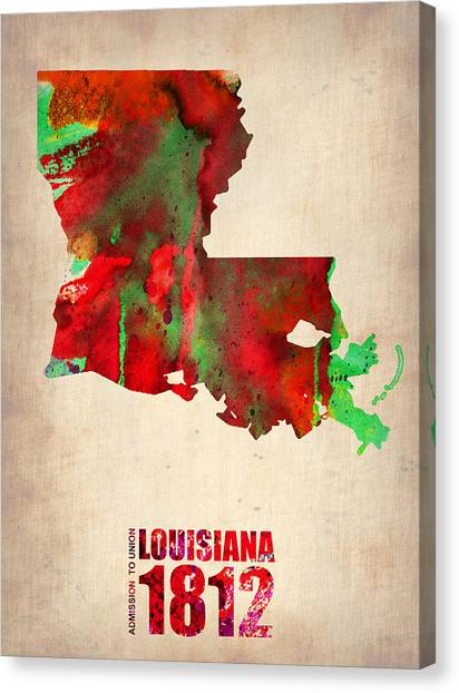 Louisiana Canvas Print - Louisiana Watercolor Map by Naxart Studio
