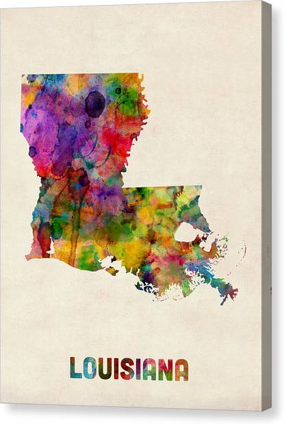Louisiana Canvas Print - Louisiana Watercolor Map by Michael Tompsett
