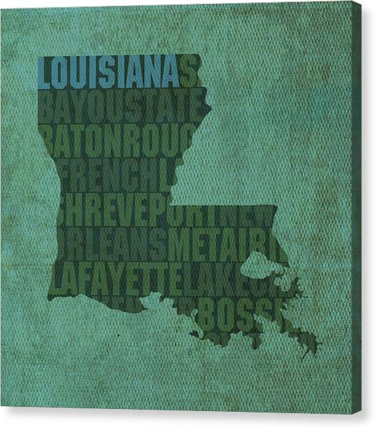 Word Art Canvas Print - Louisiana Word Art State Map On Canvas by Design Turnpike