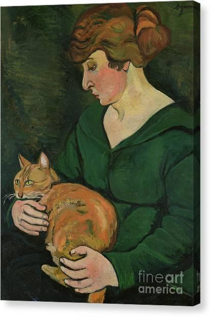 Cat Canvas Print - Louison E Raminou by Marie Clementine Valadon