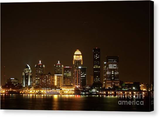 University Of Louisville Canvas Print - Louisville After Dark 2006 by Jack R Perry