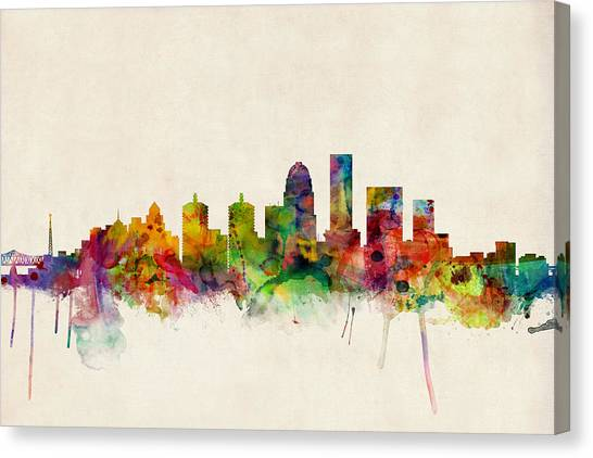 Urban Canvas Print - Louisville Kentucky City Skyline by Michael Tompsett