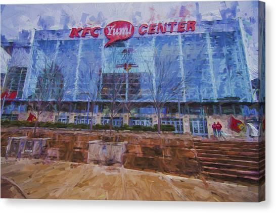 University Of Kentucky Canvas Print - Louisville Kentucky Kfc Yum Center Digital Painting by David Haskett II