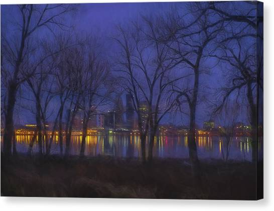 University Of Kentucky Canvas Print - Louisville Kentucky Night Skyline Digital Paint by David Haskett II