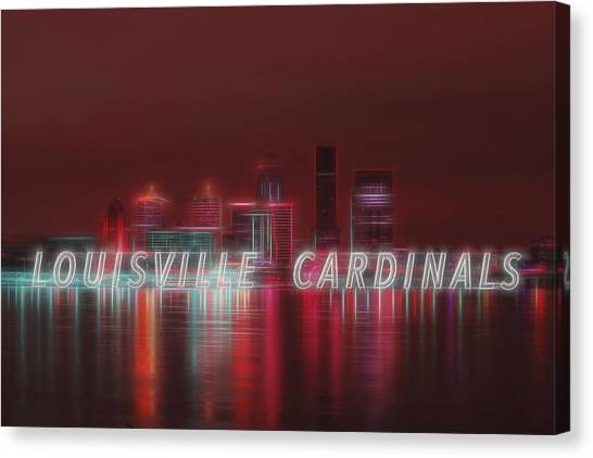 University Of Louisville Canvas Print - Louisville Kentucky Skyline Red Univ Of Louisville by David Haskett II