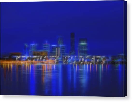 University Of Kentucky Canvas Print - Louisville Kentucky Skyline Wildcats Blue by David Haskett II
