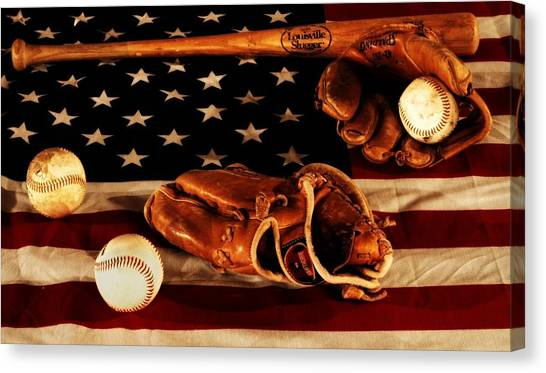 Catchers Canvas Print - Louisville Slugger by Dan Sproul