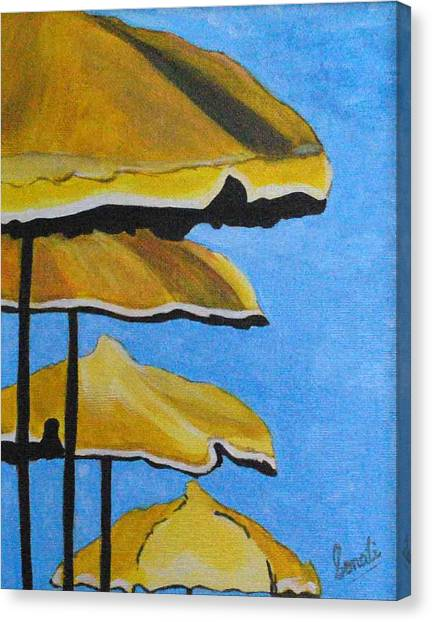 Lounging Under The Umbrellas On A Bright Sunny Day Canvas Print